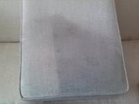 Cushion half cleaned